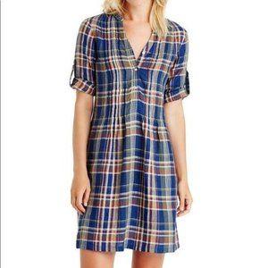 J.McLaughlin Riviera Plaid Dress Linen XS Pleated